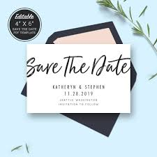 Save The Date Cards Templates Minimal Wedding Save The Date Card Template Download Printable