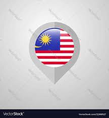 Malaysia Flag Design Vector Map Navigation Pointer With Malaysia Flag Design