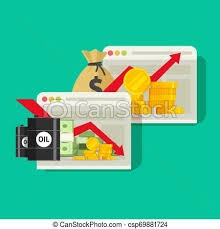 Stock Charts On Website Vector Flat Cartoon Trading Checking Global Economic Financial Trends Via Internet Stocks Market Growth Or Loss Graphs