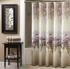 Bathroom: Stylish Bathroom Curtain For Shower Area With Purple Flower  Design - Gray Bathroom Window