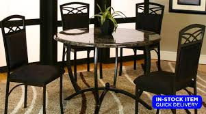 electra round marble table 4 gray black chairs set