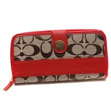 Coach In Signature Large Red Wallets CJO
