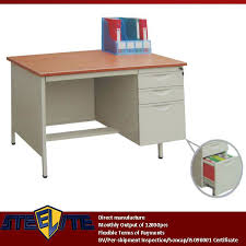 metal wood computer desk plywood top steel frame for right 3 drawers teenage computer