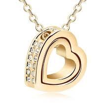 18k gold gp swarovski element crystal heart double wing pendant necklace purple