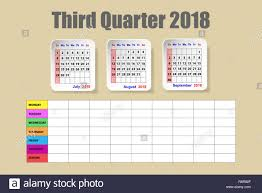 Schedule Calender Calendar For The Third Quarter Of 2018 Year With The Weekly