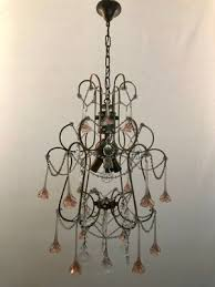 vintage chandelier with pink murano flowers 1