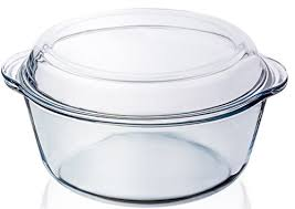 round clear glass casserole baking dish with lid 3 2 qt 10 dia