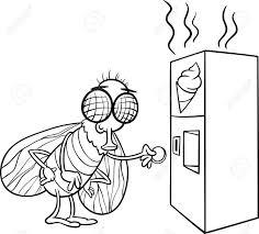 面白い飛ぶと塗り絵のうんちスナックの自動販売機の白黒漫画イラスト