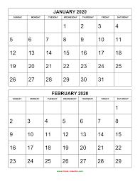 Calendars 2020 Free Free Download Printable Calendar 2020 2 Months Per Page 6
