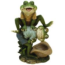 w leaping frog garden statue