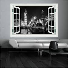big ben london black white window wall art sticker decal