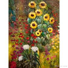 famous gustav klimt farm garden with sunflowers yellow hand painted oil paintings canvas reion home decor oil painting handmade living room decor