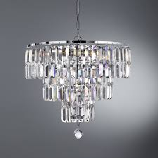 chandelier with stunning rectangular crystal prisms hanging from a modern chrome finish frame create a scintillating jewellery like effect with this