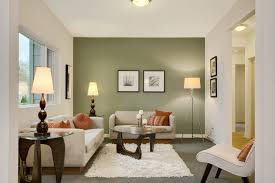 Green accent wall living room transitional with area rug neutral sofa and  love seat floor entry