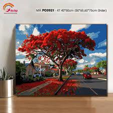 Tranh tự tô màu theo số sơn dầu số hóa _Tranh phong cảnh con đường hoa  phượng mùa hè PC0921, Giá tháng 1/2021