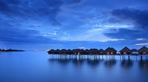 Preview wallpaper calm, sea, houses, beach, malaysia 1920x1080