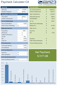 Paycheck Calculator For California Net Pay Check Calculator For Excel
