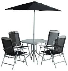 cb imports 4 seater metal patio furniture set including parasol glass table and 4 chairs co uk garden outdoors