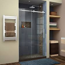 dreamline shdr 64487610 07 enigma air 44 to 48 in frameless sliding shower door in brushed stainless steel 44 48 in w x 76 in h wall s furniture
