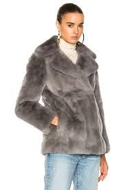 image 3 of alberta ferretti sunday rabbit fur coat in melange grey light blue