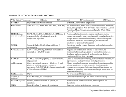 Physical Exam Template complete physical exam abbreviations 1