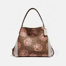 Coach Canvas Signature Rose Print Edie 31   Shoulder Bags   Handbags ...