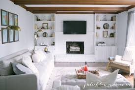 traditional living room with tv. Traditional Living Room With Wood Beams, White Painted Brick Fireplace \u0026 Built-in Bookcases Tv