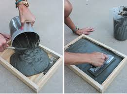 once the concrete is dry remove tile mold and the s on all the sides of the frame the wood should easily fall away from the sides and bottom of the