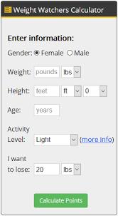 Points System Weight Watchers Chart Www Bedowntowndaytona Com