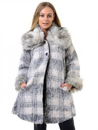 brushed wool big fur coat