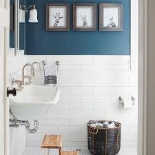 half tile half paint like the contrast whitebathrooms 16 boy bathroom with peacock blue wall paint color