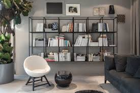 modern wall bookshelves with intricate