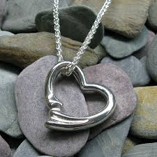 extra large open heart pendant