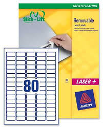 Avery Removable Labels 80 Per Sheet 25 Sheets