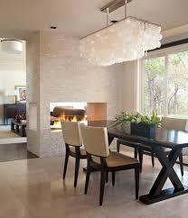 white rectangular chandelier dining room