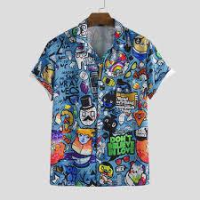 mens character printing <b>turn down collar</b> casual shirts at Banggood