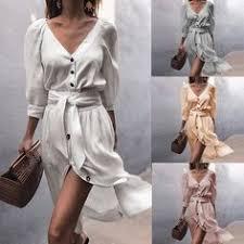 <b>Women Casual Solid V</b>-Neck Strap Half Sleeve Dress in 2019 ...