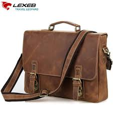 lexe cross crazy horses messenger bags vintage genuine leather men s briefcases fits 15 6 laptop bag in brown