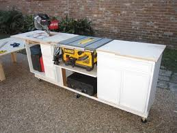 table saw stand. portable miter saw/table saw station made from kitchen cabinets. table stand r