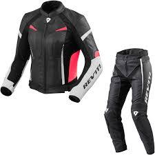 sentinel rev it xena 2 las leather motorcycle jacket trousers white fuchsia black white kit