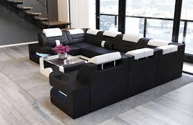 Sofa Dreams Leder Wohnlandschaft Como U Form Schwarz Weiss