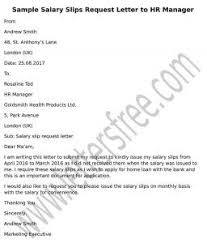 Sample Request Letter To Hr Manager For Salary Slips Sample