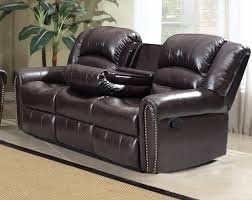 meridian furniture chelsea 684 s brown bonded leather dual reclining sofa inner console