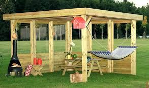 backyard with custom wood gazebo outdoor lighting wooden ideas