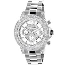 diamond mens watch 0 5ct white gold plated swiss mvt luxurman diamond mens watch 0 5ct white gold plated swiss mvt