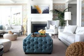 ottoman as coffee table two tone chair with blue tufted tray top