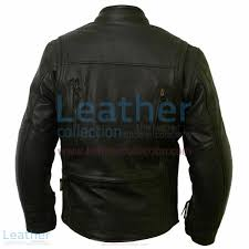waterproof motorcycle leather jacket with ce armor back view