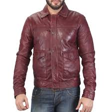 wine color mens leather jacket in india at best