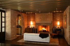 exposed brick wall fireplace