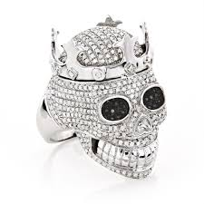 real hip hop jewelry mens diamond skull ring 10k gold king crown 2 75ct white